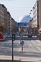 View over Globen spherical stadium over the Gotgatan main street on Sodermalm. Stockholm. Sweden, Europe.