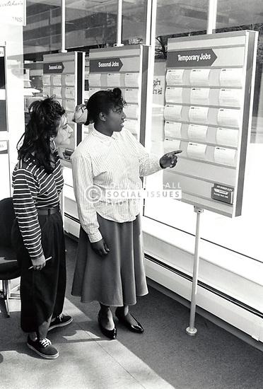 Teenagers in job centre Nottingham UK 1989