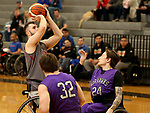 MARSHALL, MN - MARCH 17:  Michael Auprince #24 from Alabama shoots over Colin Evans #24 form the University Wisconsin Whitwater during their championship game at the 2018 National Intercollegiate Wheelchair Basketball Tournament at Southwest Minnesota State University in Marshall, MN. (Photo by Dave Eggen/Inertia)