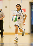 NJB 7th and 8th grade Girls at LAHS.  January 22, 2017<br /> <br /> <br /> Mira Morales takes the ball down the court. NJB 7th and 8th grade Girls at LAHS.  January 22, 2017