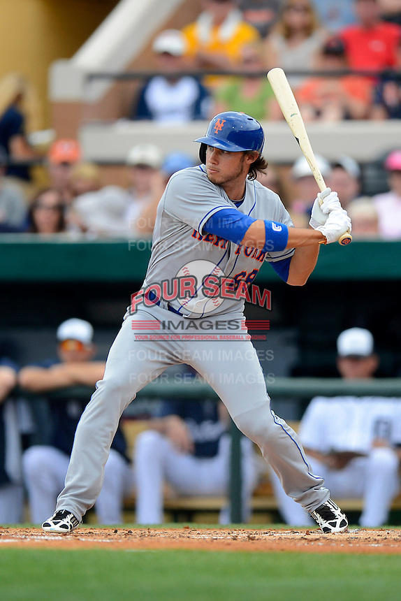 New York Mets outfielder Matthew den Dekker #68 during a Spring Training game against the Detroit Tigers at Joker Marchant Stadium on March 11, 2013 in Lakeland, Florida.  New York defeated Detroit 11-0.  (Mike Janes/Four Seam Images)