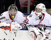 Bryan Mountain (NU - 46), Chris Rawlings (NU - 37) - The Northeastern University Huskies defeated the St. Thomas Tommies 7-5 in their exhibition match on Saturday, October 3, 2009, at Matthews Arena in Boston, Massachusetts.