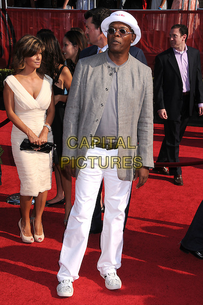SAMUEL L. JACKSON.ESPY Awards 2008 - Arrivals at the Nokia Theatre LA Live, Los Angeles, California, USA..July 16th, 2008.full length white trousers beige brown jacket white soul men hat tinted glasses sunglasses shades .CAP/ADM/BP.©Byron Purvis/AdMedia/Capital Pictures.