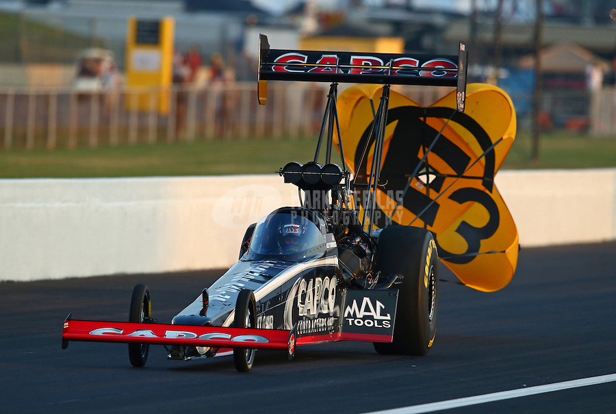 Aug. 30, 2013; Clermont, IN, USA: The car of NHRA top fuel dragster driver Billy Torrence during qualifying for the US Nationals at Lucas Oil Raceway. Mandatory Credit: Mark J. Rebilas-