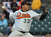 Jair Jurrjens #33 of the Long Island Ducks delivers to the plate in the top of the third inning of the team's season home opener against the Southern Maryland Blue Crabs at Bethpage Ballpark in Central Islip, NY on Friday, May 4, 2018.