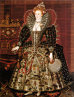 """The """"Hardwick Hall"""" portrait of Elizabeth I of England.<br /> Date <br /> <br /> c. 1599 (date from Roy Strong, Gloriana, 1987)- Daughter of King Henry VIII of England and his second wife, Anne Boleyn, Elizabeth I ascended the throne of England on the death of her sister Mary. She reigned from 1558-1603.-"""