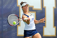 18 March 2012:  FIU's Nina Djordjevic returns the ball during her singles match against Colubmia's Tiana Takenaga as the Columbia Lions defeated the FIU Golden Panthers, 5-2, at University Park in Miami, Florida.