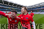 mascot Cathal Griffin and Darran O'Sullivan Glenbeigh Glencar players celebrate their victory over Rock Saint Patricks in the Junior Football All Ireland Final in Croke Park on Sunday.