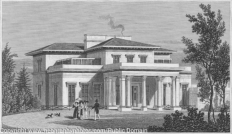 Villa in the Regent's Park, engraving 'Metropolitan Improvements, or London in the Nineteenth Century' London, England, UK 1828 , drawn by Thomas H Shepherd
