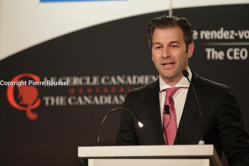 Alexandre L'Heureux, President &amp; CEO , WSP parle a la tribune du Cercle canadien de Montreal, lundi 30 mai 2016.<br /> <br /> PHOTO : Pierre Roussel -  Agence Quebec Presse