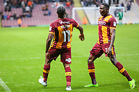 Dominic Poleon of Bradford City celebrates scoring for Bradford City with Omari Patrick of Bradford City during the Carabao Cup match between Bradford City and Doncaster Rovers at the Northern Commercial Stadium, Bradford, England on 8 August 2017. Photo by Thomas Gadd.