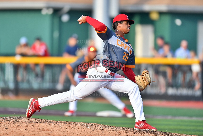 Johnson City Cardinals starting pitcher Oneiver Diaz (28) delivers a pitch during a game against the Pulaski Yankees at TVA Credit Union Ballpark on July 7, 2018 in Johnson City, Tennessee. The Cardinals defeated the Yankees 7-3. (Tony Farlow/Four Seam Images)