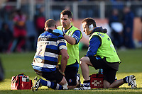 Tom Dunn of Bath Rugby is treated for an injury. Aviva Premiership match, between Bath Rugby and Harlequins on November 25, 2017 at the Recreation Ground in Bath, England. Photo by: Patrick Khachfe / Onside Images