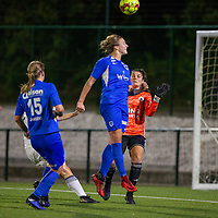 20190823 - OUD HEVERLEE BELGIUM : KRC Genk's Nikki Janssen and OHL's goal keeper Louise Van Den Bergh pictured during the female soccer game between the OHL Ladies vs KRC Genk Ladies, the first game for both teams in the Belgian Women's Super League , Friday 23rd  August 2019 at the OHL Jeugdcomplex , Belgium . PHOTO SPORTPIX.BE | SEVIL OKTEM