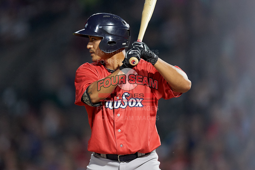 Pawtucket Red Sox shortstop Tzu-Wei Lin (5) at bat during a game against the Rochester Red Wings on July 4, 2018 at Frontier Field in Rochester, New York.  Pawtucket defeated Rochester 6-5.  (Mike Janes/Four Seam Images)