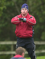 12/02/2004 Six Nations Rugby England Training- Pennyhill Park- Bagshot.Steve Thompson, exercising in the morning training session..   [Mandatory Credit, Peter Spurier/ Intersport Images].