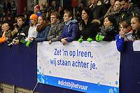 SCHAATSEN: HEERENVEEN: 27-12-2013, IJsstadion Thialf, KNSB Kwalificatie Toernooi (KKT), spandoek voor Ireen Wüst, ©foto Martin de Jong