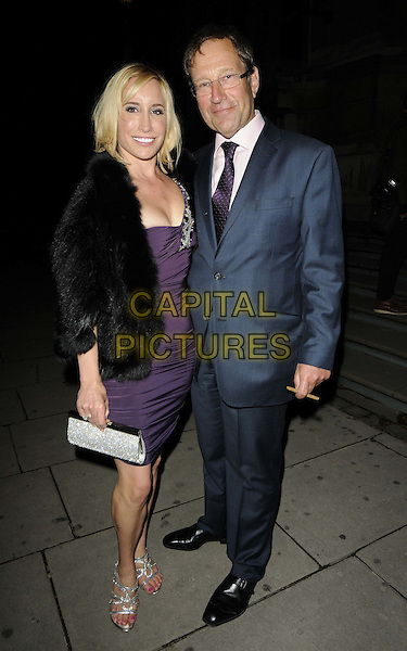 Janet & Richard Desmond.The talent agent Jonathan Shalit's 50th birthday party, V&A Museum, London, England..April 17th, 2012.full length black purple blue fur jacket suit married husband wife .CAP/CAN.©Can Nguyen/Capital Pictures.