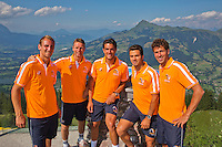 Austria, Kitzbuhel, Juli 15, 2015, Tennis, Davis Cup, Dutch team on top of the &quot;Hahnenkam&quot;  ltr:   Thiemo de Bakker, Captain Jan Siemerink,  Jesse Huta Galung, , Jean-Julien Rojer, Robin Haase, <br /> Photo: Tennisimages/Henk Koster