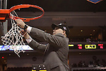 LAS VEGAS, NV - MARCH 8:  Randy Bennett cuts down the net after Saint Mary's 81-62 win over the Gonzaga Bulldogs in the championship game of the 2010 Zappos West Coast Conference Basketball Championships on March 8, 2010 at Orleans Arena in Las Vegas Nevada.