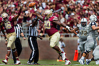TALLAHASSEE, FLA 9/10/16-Florida State's Demarcus Christmas, center, celebrates recovering a Charleston Southern fumble during first quarter action Saturday at Doak Campbell Stadium in Tallahassee. <br /> COLIN HACKLEY PHOTO