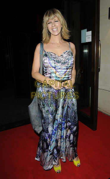 Kate Garraway.The ITV Summer Party, Aqua bar & restaurant, Argyll St., London, England..July 12th, 2012.full length blue print dress grey gray bag purse yellow shoes .CAP/CAN.©Can Nguyen/Capital Pictures.