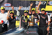 Jun 11, 2017; Englishtown , NJ, USA; NHRA top fuel driver Steve Torrence celebrates with crew members after winning the Summernationals at Old Bridge Township Raceway Park. Mandatory Credit: Mark J. Rebilas-USA TODAY Sports