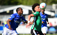 Lincoln City's Lee Angol shields the ball from Eastleigh's Gavin Hoyte<br /> <br /> Photographer Andrew Vaughan/CameraSport<br /> <br /> Vanarama National League - Eastleigh v Lincoln City - Saturday 8th April 2017 - Silverlake Stadium - Eastleigh<br /> <br /> World Copyright &copy; 2017 CameraSport. All rights reserved. 43 Linden Ave. Countesthorpe. Leicester. England. LE8 5PG - Tel: +44 (0) 116 277 4147 - admin@camerasport.com - www.camerasport.com