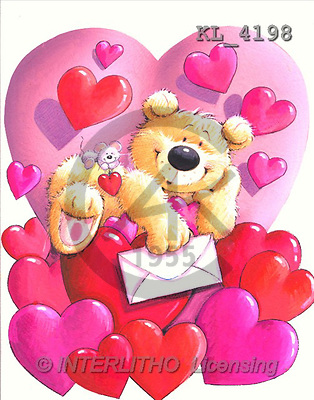 Interlitho, Arthur, VALENTINE, paintings, bear, hearts, letter(KL4198,#V#) illustrations, pinturas ,everyday