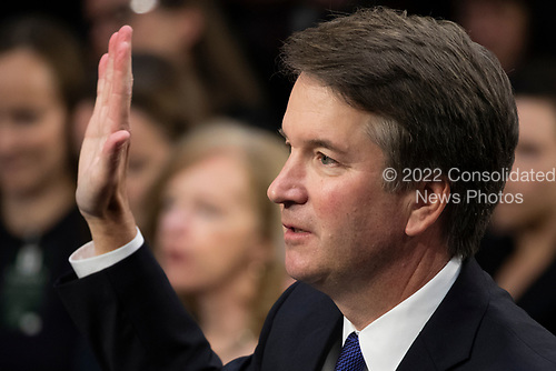Judge Brett Kavanaugh is sworn in prior to testifying before the United States Senate Judiciary Committee on his nomination as Associate Justice of the US Supreme Court to replace the retiring Justice Anthony Kennedy on Capitol Hill in Washington, DC on Tuesday, September 4, 2018.Credit: Alex Edelman / CNP