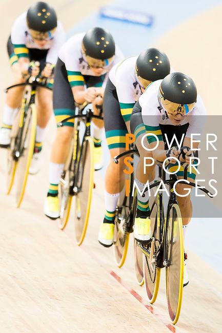 The team of Australia with Amy Cure, Ashlee Ankudinoff, Alexandra Manly and Rebecca Wiasak competes in the Women's Team Pursuit - 1st Round as part of the 2017 UCI Track Cycling World Championships on 13 April 2017, in Hong Kong Velodrome, Hong Kong, China. Photo by Marcio Rodrigo Machado / Power Sport Images