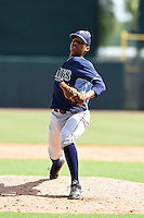 Tampa Bay Rays pitcher Orlando Romero (90) during an Instructional League game against the Baltimore Orioles on September 15, 2014 at Ed Smith Stadium in Sarasota, Florida.  (Mike Janes/Four Seam Images)