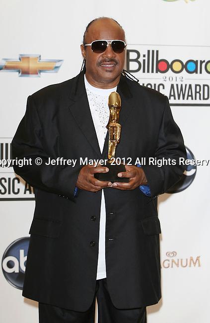 LAS VEGAS, CA - MAY 20: Stevie Wonder poses in the press room at the 2012 Billboard Music Awards at MGM Grand on May 20, 2012 in Las Vegas, Nevada.