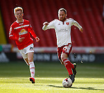 Matt Done of Sheffield Utd speeds past Charlie Kirk of Crewe Alexandra  during the Sky Bet League One match at Bramall Lane Stadium. Photo credit should read: Simon Bellis/Sportimage