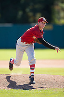 Nick Pantos (29) of Gaithersburg High School in Gaithersburg, Maryland playing for the St. Louis Cardinals scout team at the South Atlantic Border Battle at Doak Field on November 2, 2014.  (Brian Westerholt/Four Seam Images)