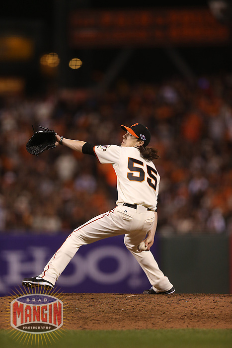 SAN FRANCISCO - OCTOBER 7:  Tim Lincecum of the San Francisco Giants pitches during Game 2 of the NLDS against the Cincinnati Reds at AT&T Park on October 7, 2012 in San Francisco, California. (Photo by Brad Mangin)