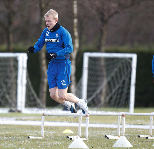 Steven Naismith about to clatter a mini hurdle