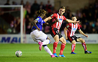 Lincoln City's Harry Toffolo vies for possession with Everton's Moise Kean<br /> <br /> Photographer Chris Vaughan/CameraSport<br /> <br /> The Carabao Cup Second Round - Lincoln City v Everton - Wednesday 28th August 2019 - Sincil Bank - Lincoln<br />  <br /> World Copyright © 2019 CameraSport. All rights reserved. 43 Linden Ave. Countesthorpe. Leicester. England. LE8 5PG - Tel: +44 (0) 116 277 4147 - admin@camerasport.com - www.camerasport.com