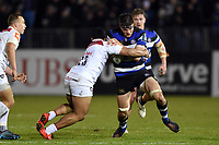 Josh Bayliss of Bath Rugby takes on the Leicester Tigers defence. Anglo-Welsh Cup match, between Bath Rugby and Leicester Tigers on November 10, 2017 at the Recreation Ground in Bath, England. Photo by: Patrick Khachfe / Onside Images