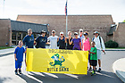 August 14, 2017; On Day 1 of the ND Trail, pilgrims are greeted by students from North Knox School during the 19 mile trek from Vincennes to Oaktown, Indiana. As part of the University's 175th anniversary celebration, the Notre Dame Trail will commemorate Father Sorin and the Holy Cross Brothers' journey. A small group of pilgrims will make the entire 300+ mile journey from Vincennes to Notre Dame over  two weeks. (Photo by Barbara Johnston/University of Notre Dame)