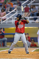 Amaurys Minier (39) of the Elizabethton Twins at bat against the Kingsport Mets at Hunter Wright Stadium on July 9, 2015 in Kingsport, Tennessee.  The Twins defeated the Mets 9-7 in 11 innings. (Brian Westerholt/Four Seam Images)