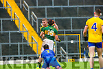 Kerry Stephen O'Brien celebrates scoring his goal against Roscommon with Tommy Walsh  depite the best efforts of keeper Darren O'Malley and Ronan Stack during their NFKL Div 1 clash in Fitzgerald Stadium on Sunday