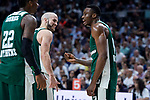 Panathinaikos Kenny Gabriel, Nick Calathes and Thanasis Antetokounmpo during Turkish Airlines Euroleague Quarter Finals 3rd match between Real Madrid and Panathinaikos at Wizink Center in Madrid, Spain. April 25, 2018. (ALTERPHOTOS/Borja B.Hojas)