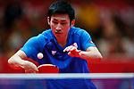 Jin Ueda (JPN), <br /> AUGUST 27, 2018 - Table Tennis : <br /> Men's Team Quarter-final <br /> between Japan 1-3 India <br /> at JIExpo Kemayoran Hall B <br /> during the 2018 Jakarta Palembang Asian Games <br /> in Jakarta, Indonesia. <br /> (Photo by Naoki Morita/AFLO SPORT)