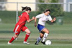 BROOKINGS, SD - AUGUST 16:  Megan Kingston #10 from South Dakota State University controls the ball past Stephanee Ophey #2 from Winnipeg in the first half of their game Friday evening at Fischback Soccer Field in Brookings. (Photo by Dave Eggen/Inertia)