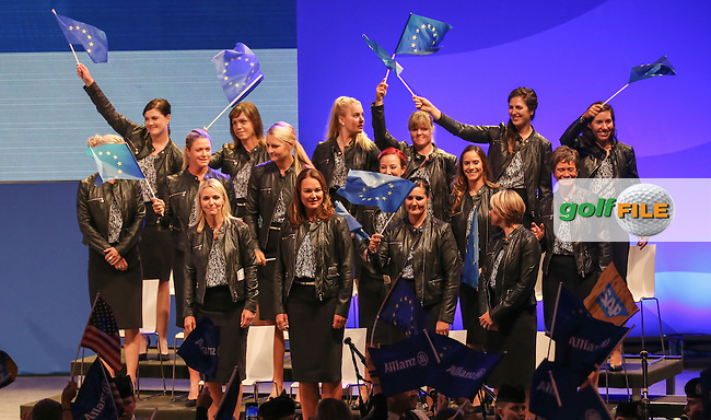 TEAM EUROPE take to the stage to begin the Opening Ceremony of The Solheim Cup 2015 played at Golf Club St. Leon-Rot, Mannheim, Germany.  17/09/2015. Picture: Golffile   David Lloyd<br /> <br /> All photos usage must carry mandatory copyright credit (&copy; Golffile   David Lloyd)