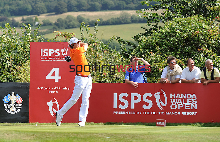 USA's Peter Uihlein in action during todays round<br /> <br /> Golf - Day 4 - ISPS Handa Wales Open 2013 - Twenty Ten Course- Sunday 1st September 2013 - Celtic Manor Resort  - Newport<br /> <br /> © www.sportingwales.com- PLEASE CREDIT IAN COOK