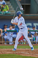 Jon Littell (48) of the Ogden Raptors at bat against the Grand Junction Rockies at Lindquist Field on August 28, 2019 in Ogden, Utah. The Rockies defeated the Raptors 8-5. (Stephen Smith/Four Seam Images)