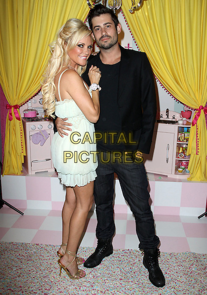 BRIDGET MARQUARDT & NICK CARPENTER.The Bridget Marquardt Watch Launch In Collaboration With Pascal Mouawad held at Pascal Mouawad Showroom, Los Angeles, CA, USA..June 2nd, 2010.full length white sheer dress puffball hem gold sandals black jacket trousers grey gray couple.CAP/ADM/KB.©Kevan Brooks/AdMedia/Capital Pictures.