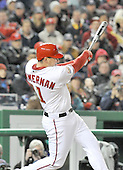 Washington, D.C. - March 29, 2008 -- Washington Nationals third baseman Ryan Zimmerman connects for a bottom of the ninth inning walk-off home run in the season opener against the Atlanta Braves at Nationals Park in Washington, D.C. on Sunday, March 30, 2008.  The Nationals won the game 3 - 2..Credit: Ron Sachs / CNP.(RESTRICTION: NO New York or New Jersey Newspapers or newspapers within a 75 mile radius of New York City)